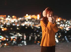 小樽 天狗山 夜景婚纱摄影照